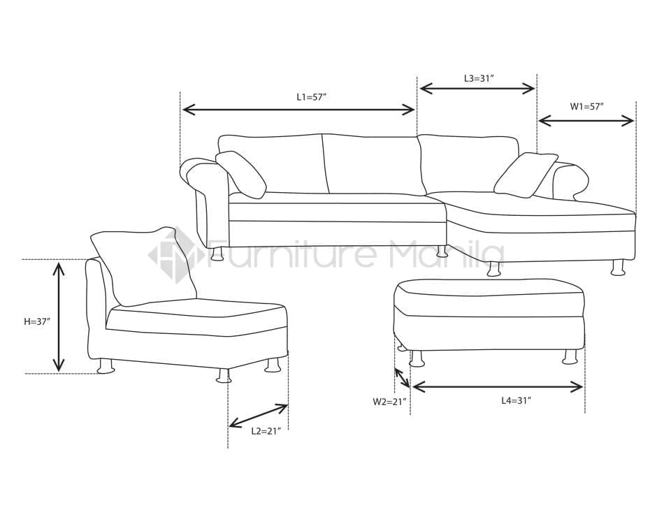 Ariane L Shaped Sofa Dimension Home Office Furniture