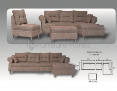 Ariane L-Shaped Sofa with Stool