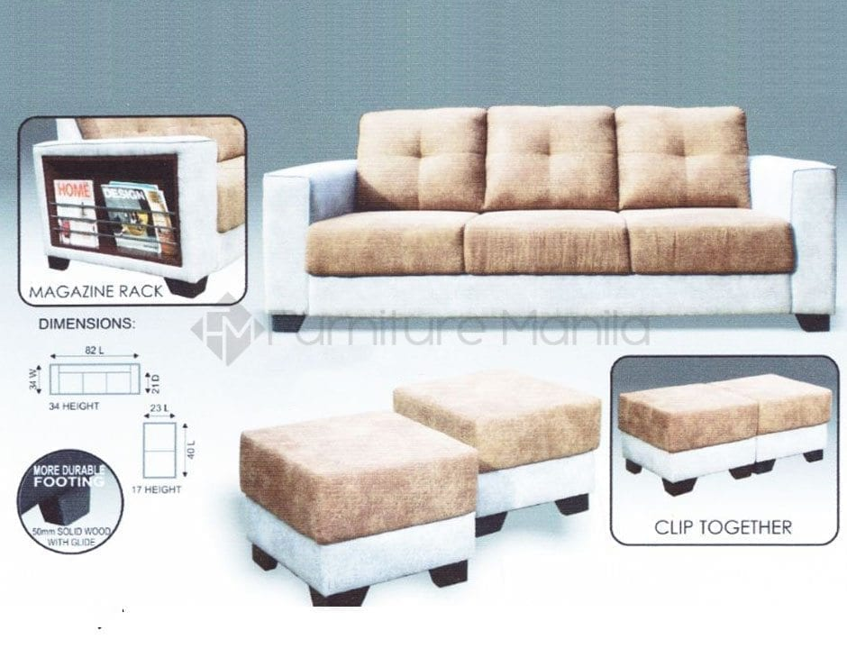 MHL 0016 Peru 3-Seater Sofa with 2 Stools