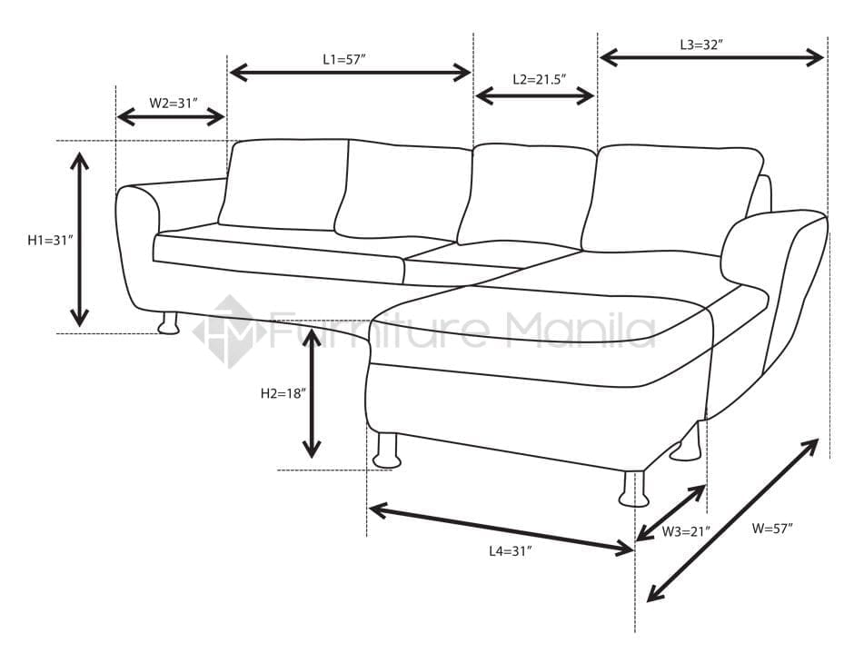 Alina L-Shaped Sofa with Stool | Furniture Manila Philippines