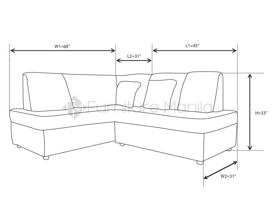 l shaped sofa dimensions
