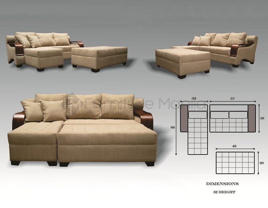 Daimos L-Shaped Sofa with Stool