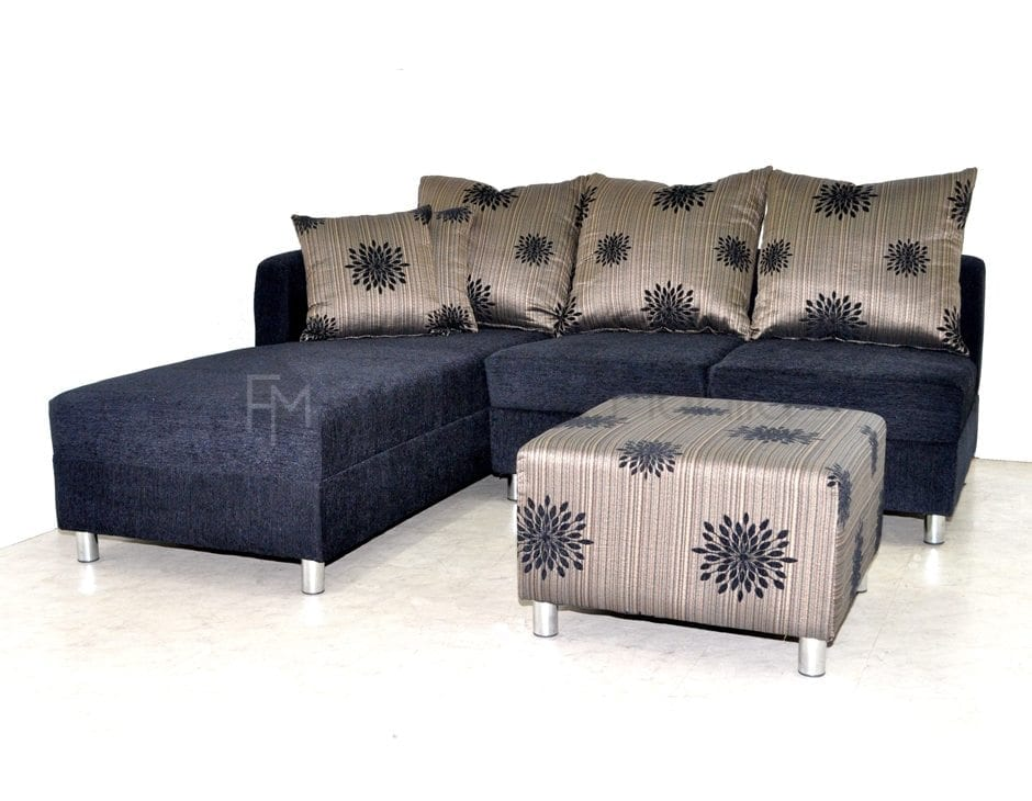 Federici L Shaped Sofa Black