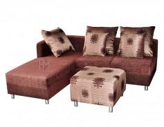 Federici L-Shaped Sofa dark brown