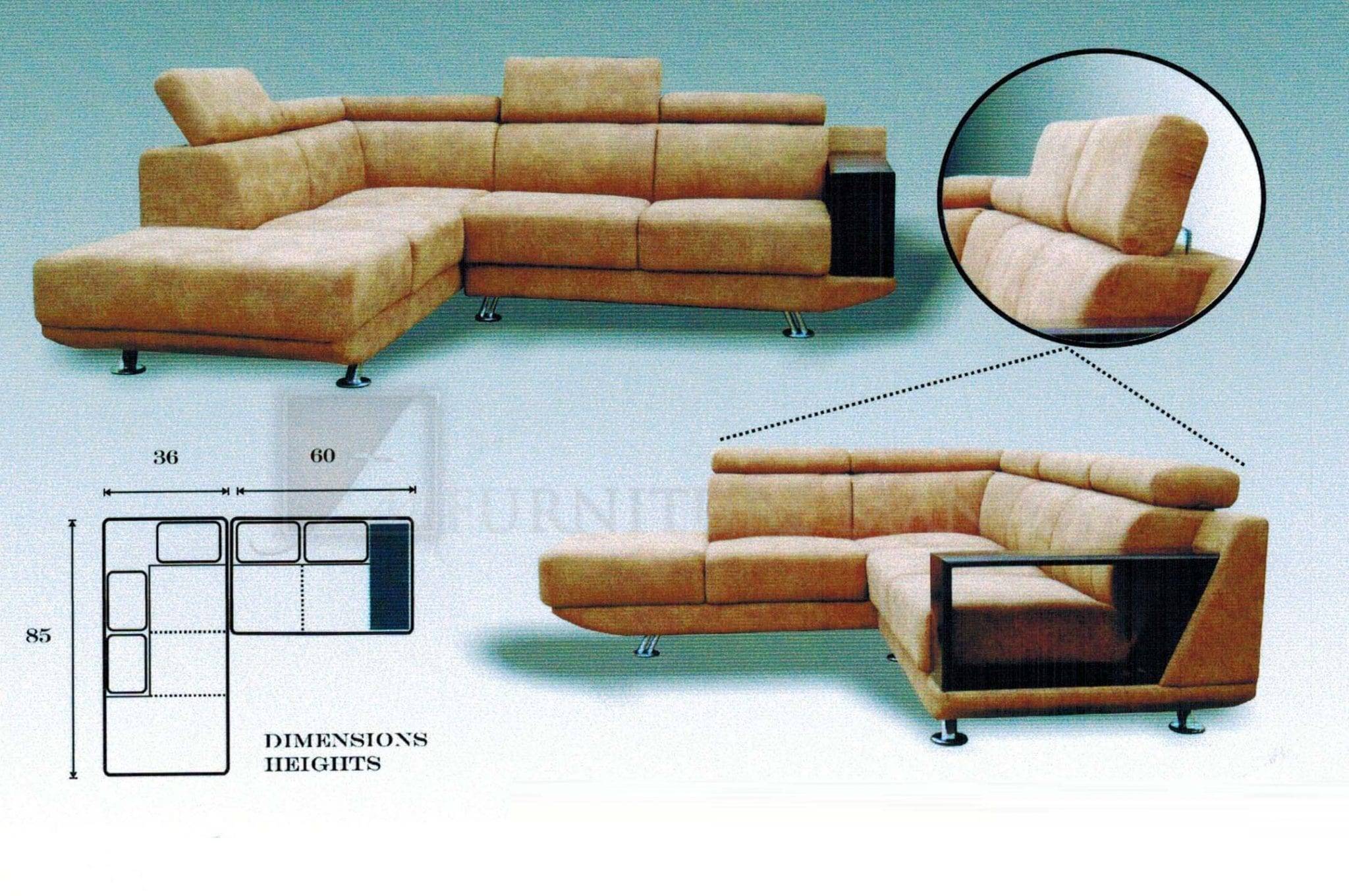 / Living Room / Sectional Sofas / MHL 0133 Florencio L Shaped Sofa. Full resolution‎  portrait, nominally Width 2048 Height 1360 pixels, portrait with #794120.