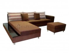 Rossetti L-Shaped Sofa with Stool