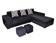 Sabatini L-Shaped Sofa black