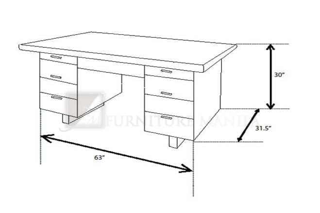 1601 office table home office furniture philippines for Dimension table bureau