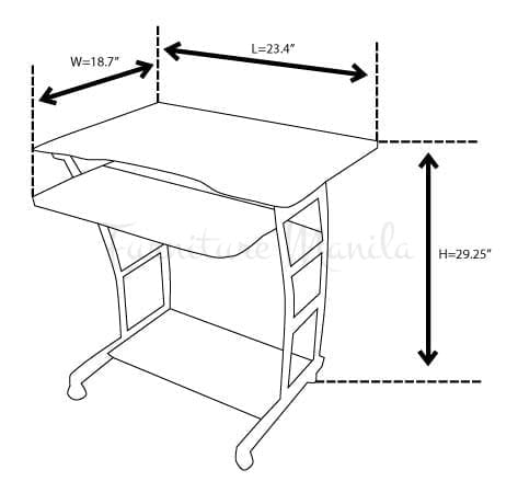 737 computer table home office furniture philippines for Dimension table bureau