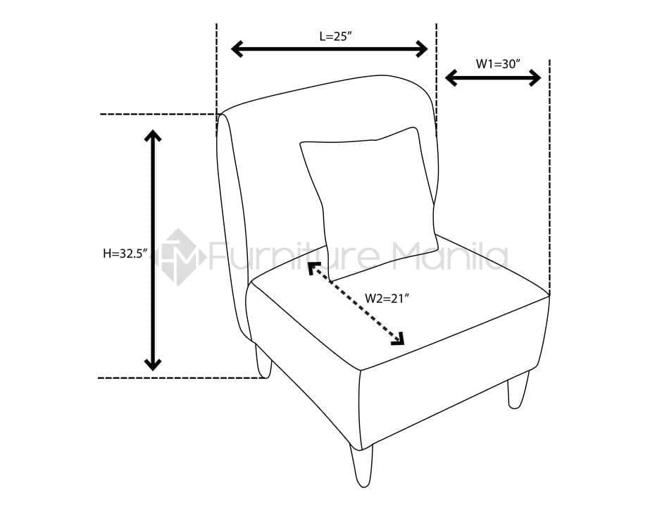 EM 187 armchair dimension