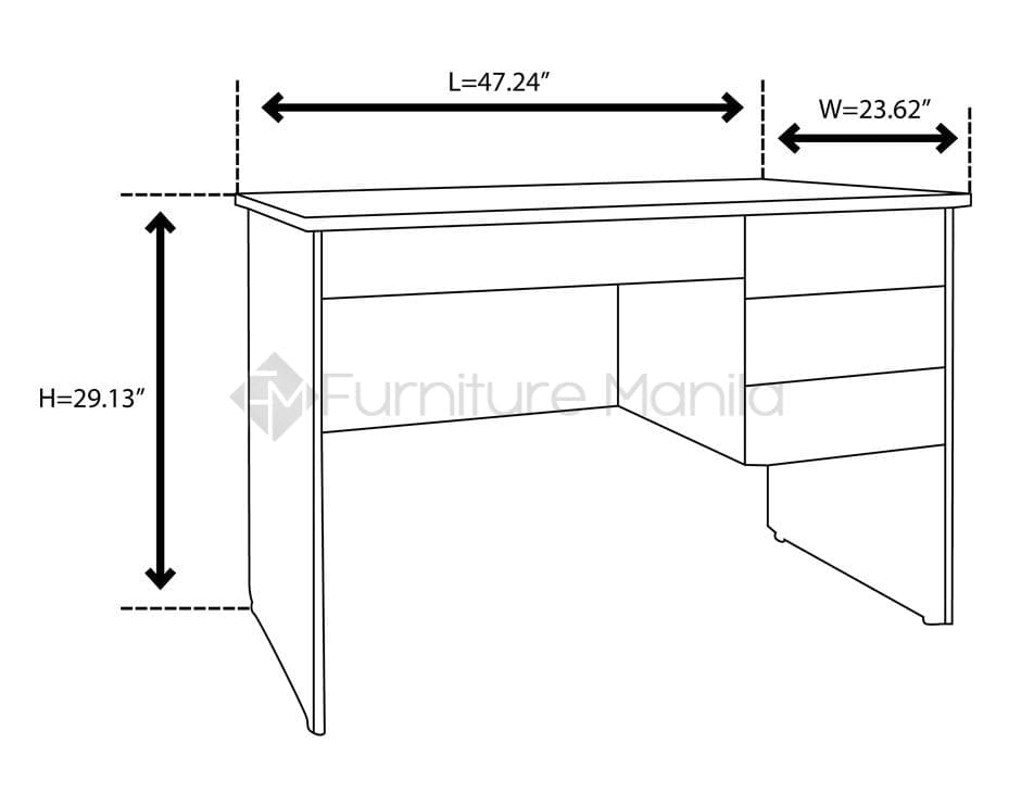 M1203c office desk home office furniture philippines for Dimension table bureau