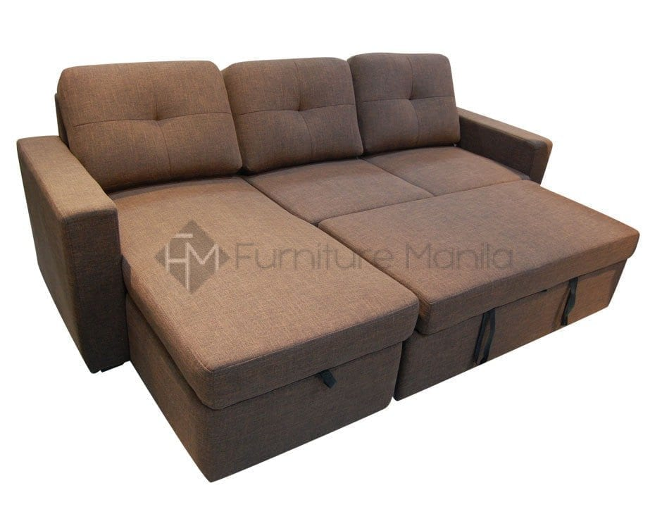 Audrey l shape sofa bed with storage home office for Sofa bed japan