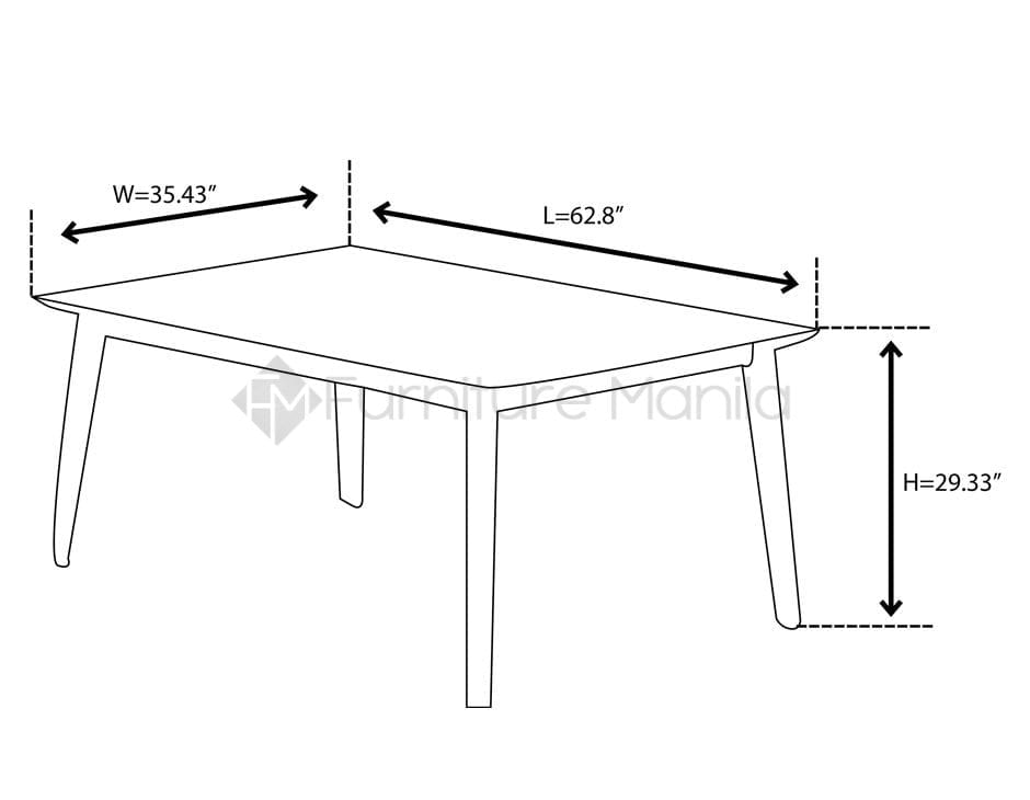 NV3407T Dining Table dimension
