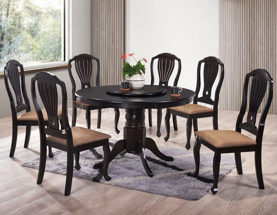 Hmq round dining set with lazy susan home office