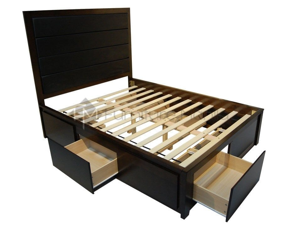 Rhys wooden bed frame with drawers home office