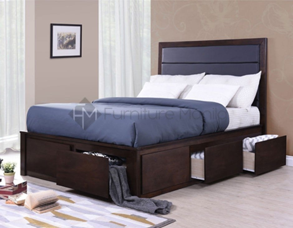 Rhys Wooden Bed Frame With Drawers Home Amp Office
