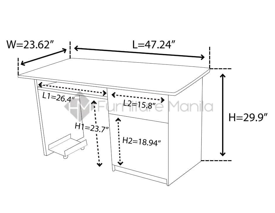 Tla02 office table home office furniture philippines for Dimension table bureau