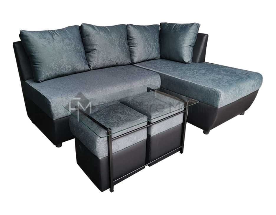 XANDER CORNER SOFA WITH CENTER TABLE AND STOOL